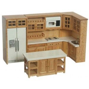 Modern Oak Cabinet Set 6 pc | Miniature Dollhouse Kitchen .