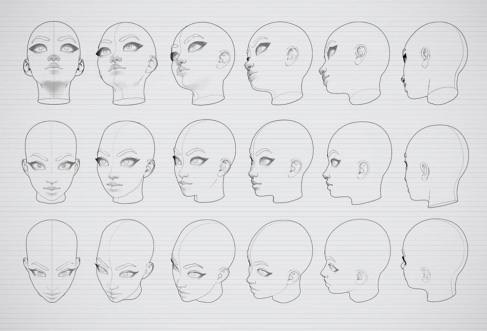 Cheat Brushes Female Heads On Cubebrush Co Drawing Heads Face Angles Drawings