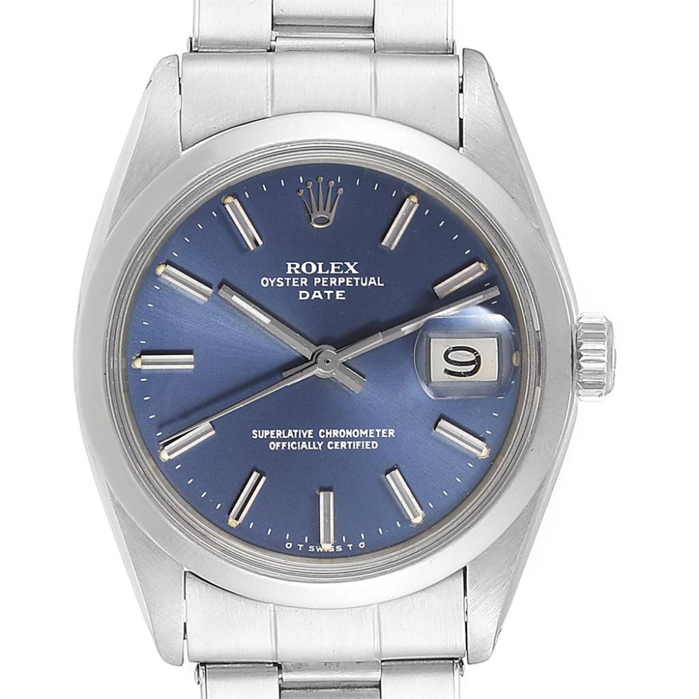 Rolex Date Blue Dial Domed Bezel Steel Vintage Mens Watch 1500 #rolexwatches
