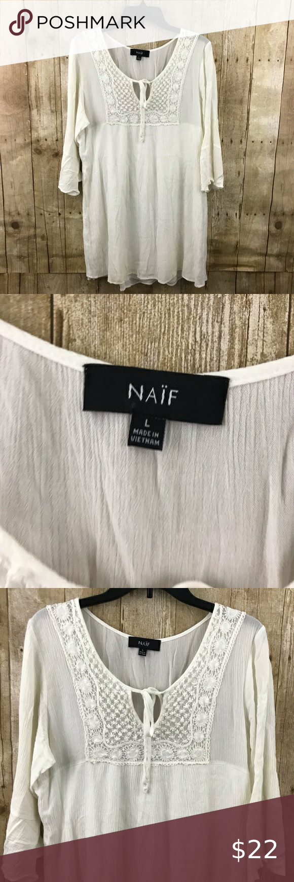 NAIF White Dress NAIF White Dress Size: Large Approx measurements laid flat: armpit to armpit- 20″  , length- 32″ Condition: Preowned Item#V19 **Pleas…
