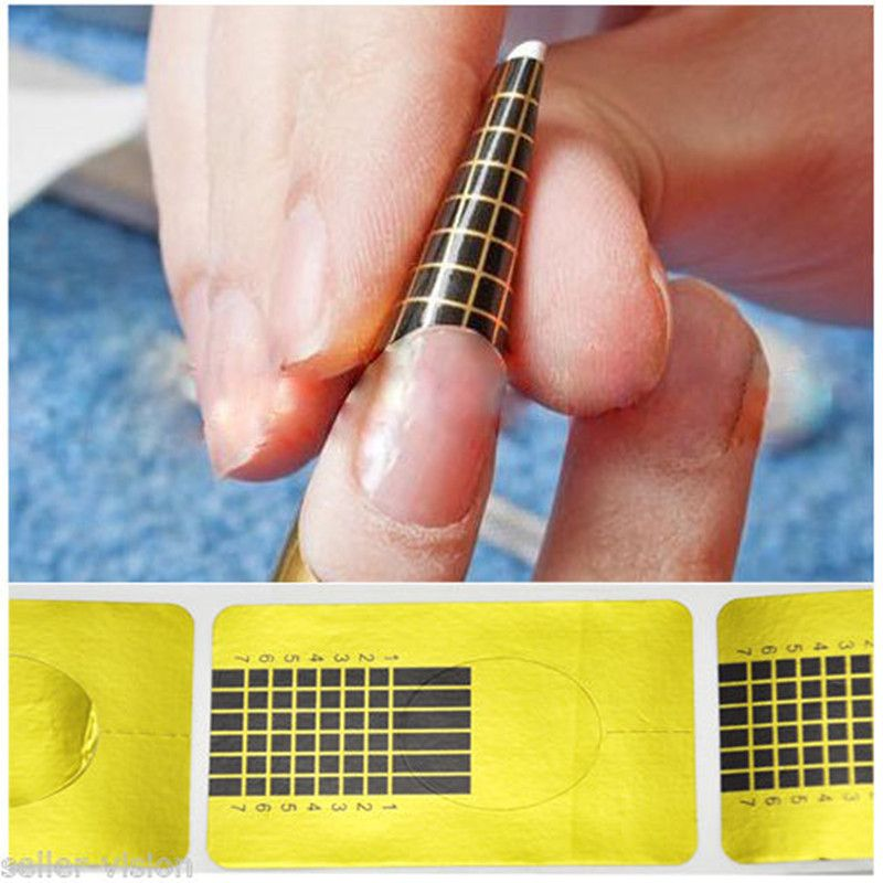 Hot selling 100 x Golden Nail Art Tips Extension Forms Guide French ...