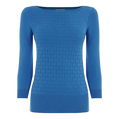 A cornflower blue slash neck jumper with three-quarter sleeves, from Oasis. Add this lightweight style to your everyday knits.