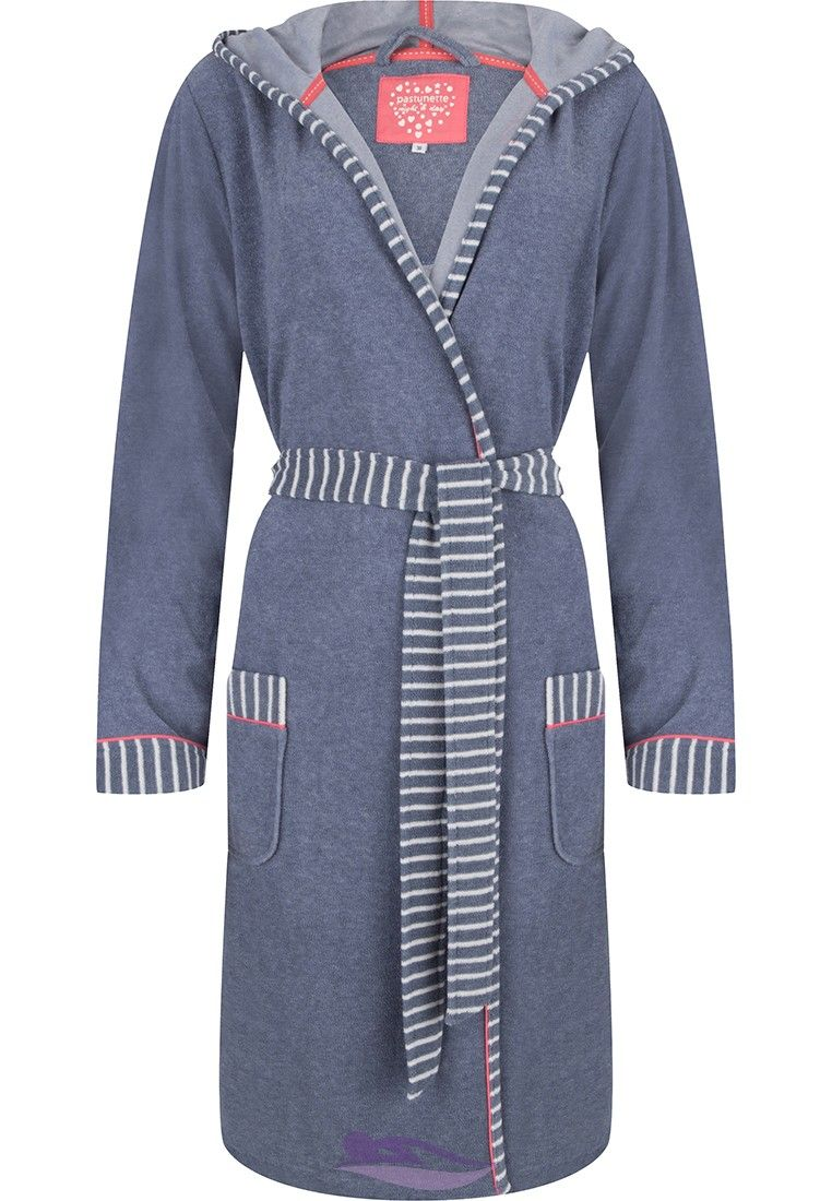 Pastunette stripey slate blue  amp  white terry morning gown with hood -  http   5094ce2b5