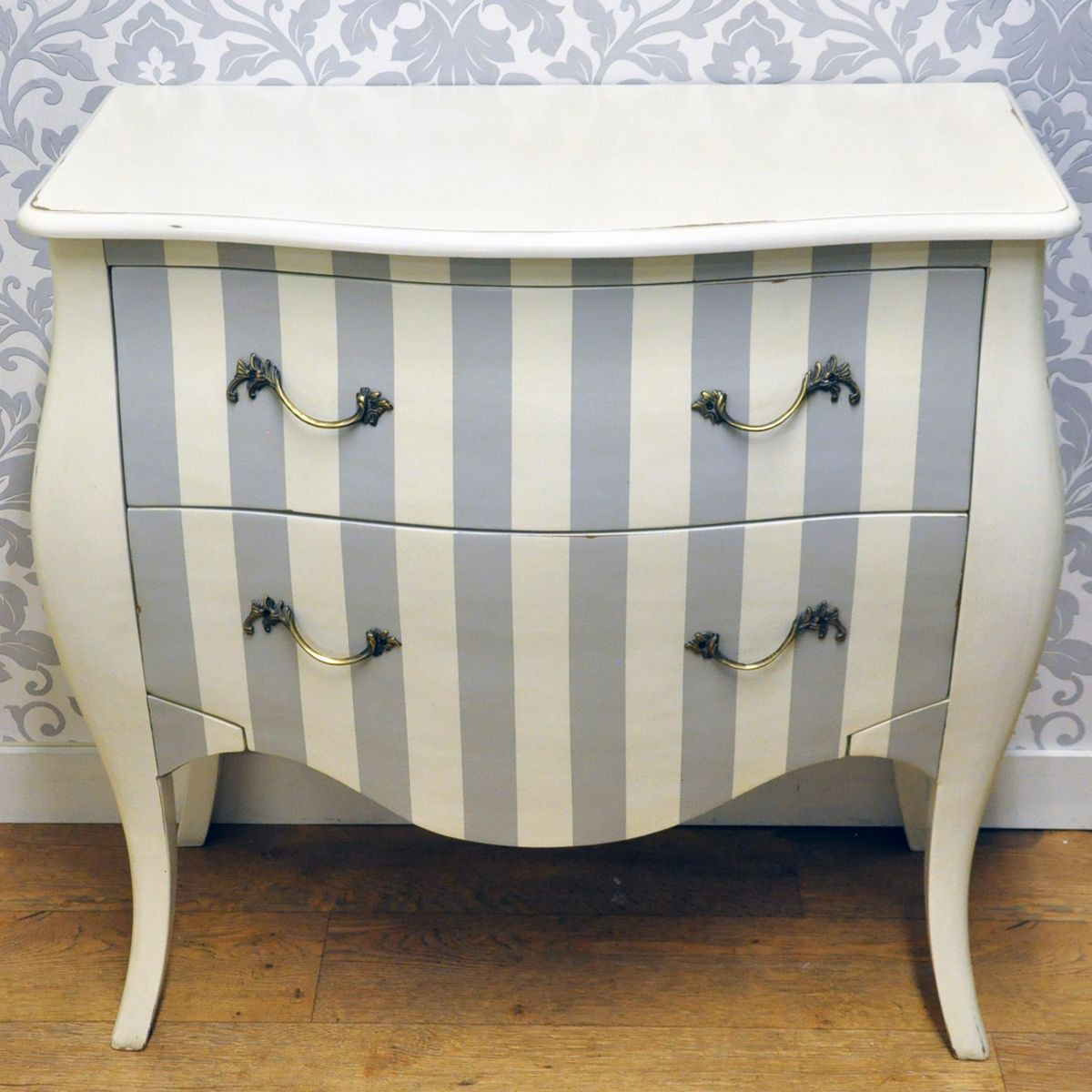 Pale Striped Painted Chest Of Drawers