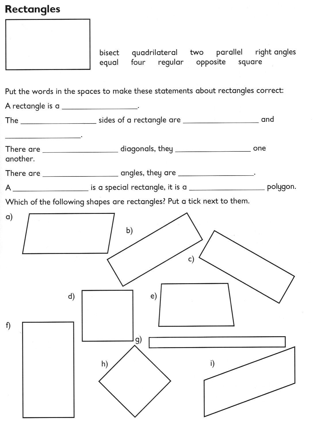 worksheet Quadrilateral Properties Worksheet compare and classify geometric shapes including quadrilaterals triangles based on their properties and