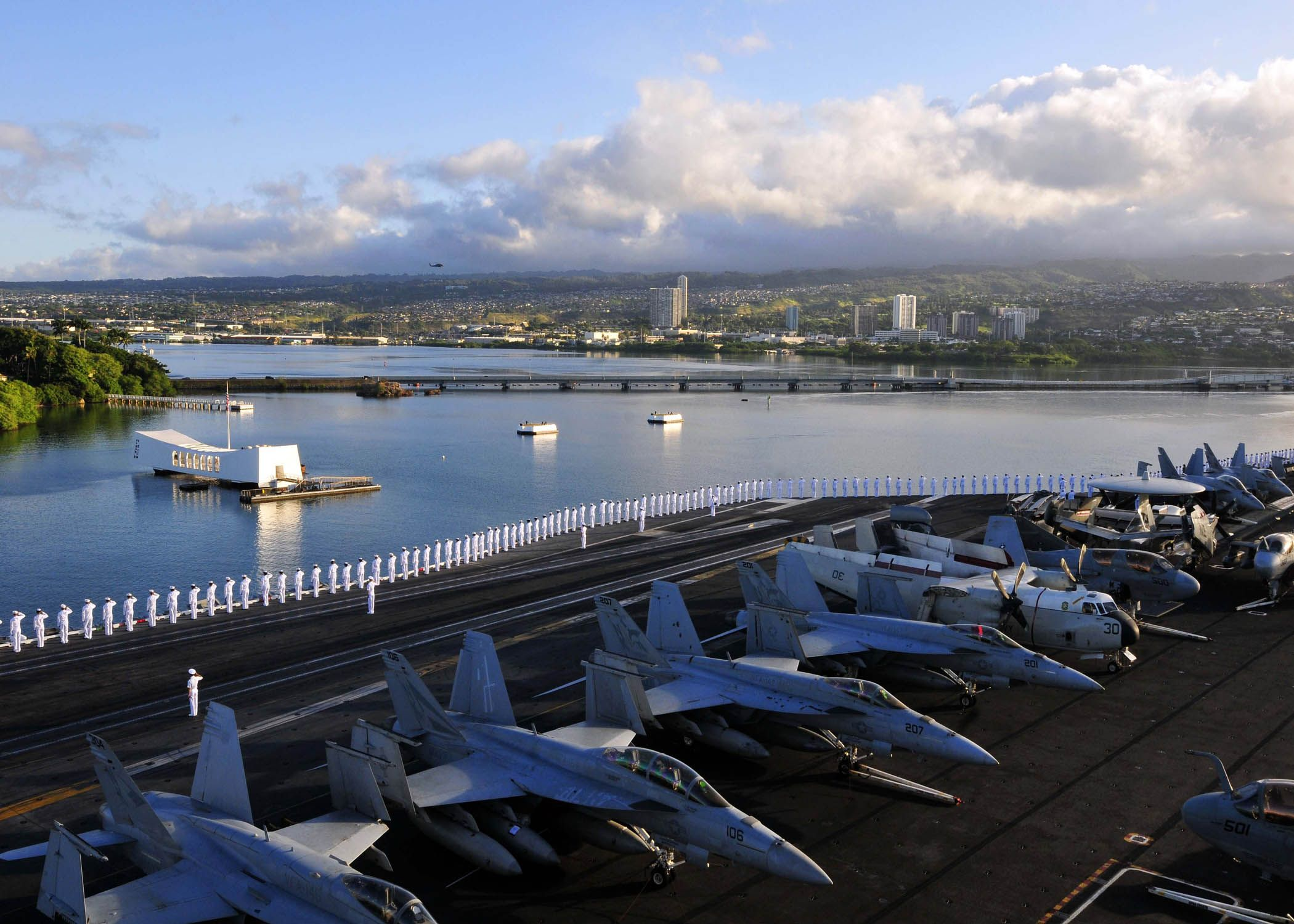 USS Ronald Reagan enters Pearl Harbor. Official US Navy photo. Posted by Charles McCain, author of the naval epic, AN HONORABLE GERMAN.