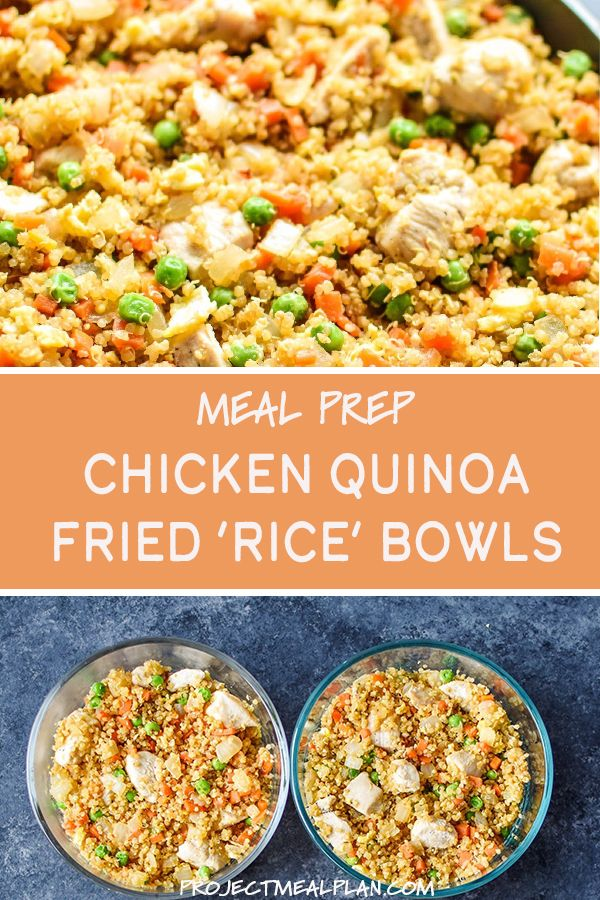 """Photo of Meal Prep Chicken Quinoa Fried """"Rice"""" Bowls"""