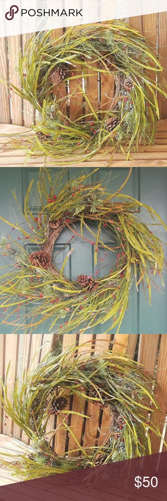Christmas Wreath w Pinecones Berries Winter Grass Christmas  winter wreath madberries