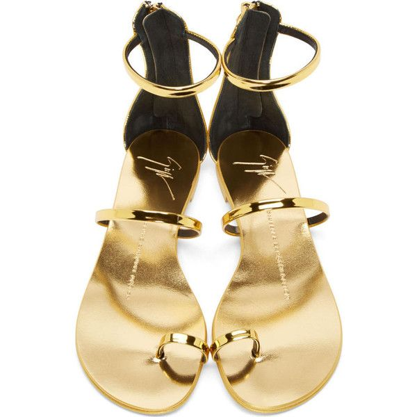 c1642b0bdcf Giuseppe Zanotti Gold Mirrored Leather Nuvorock Shooting Sandals ( 335) ❤  liked on Polyvore featuring shoes