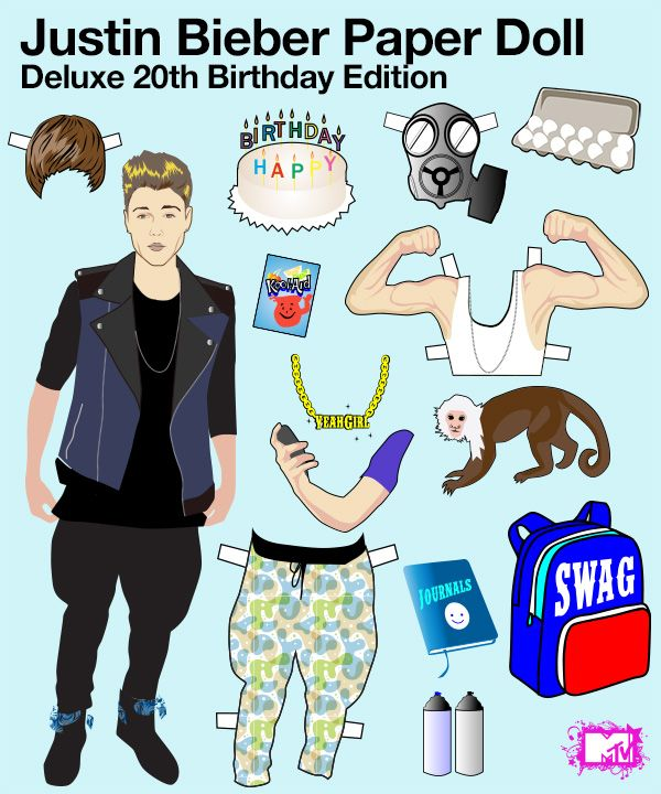 Haha for Justin's birthday on MTV's website they have a printable Justin paper doll, aha I am totally printing this! :P
