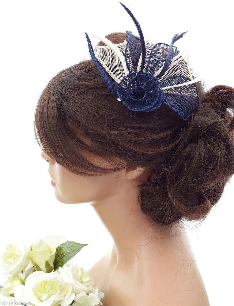 0e92d961 Elegant Mesh Net Cream & Navy Blue Flower Hair Clip Grip Fascinator &  Feathers