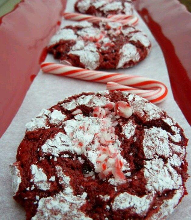 Red Velvet Peppermint Crinkle Cookies