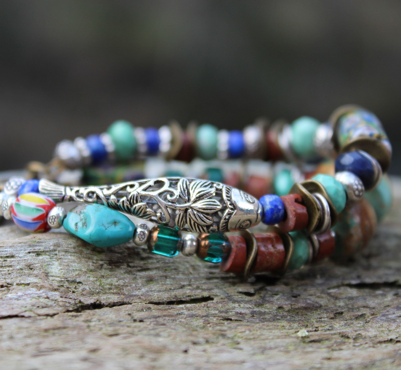 Fish Bracelet sterling silver ornate large fish bead