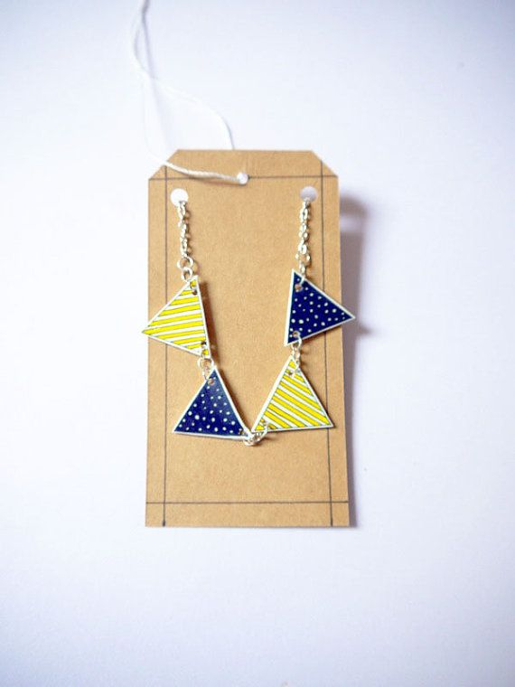 Bunting summer necklace shrink plastic blue spotty by Floralchic, $18.00