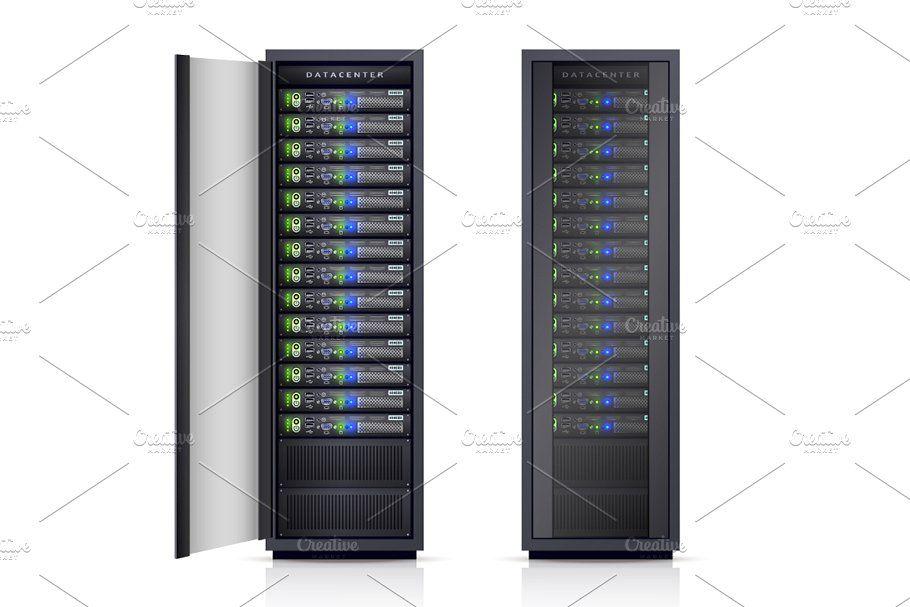Computer Server Realistic Set In 2020 Computer Server Server Computer