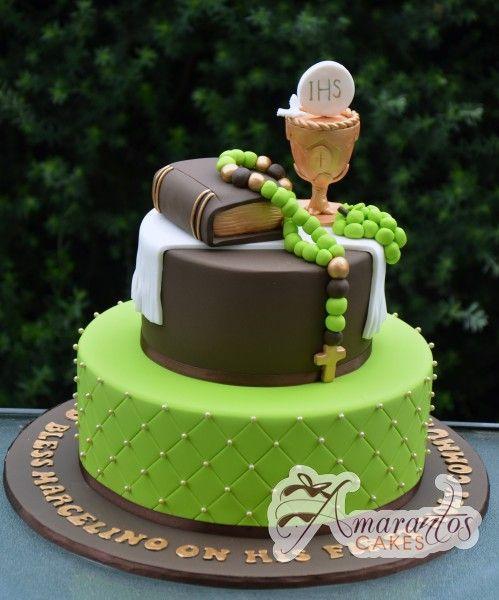 Cake Designs For Communion : Two tier Communion Cake - AC208 - Amarantos Cakes - Ac208 ...