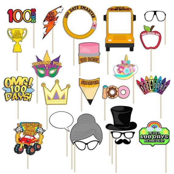 Printable 100th Day Of School Photo Booth Props 100 Days Of Etsy In 2021 100 Days Of School School Photos School Parties