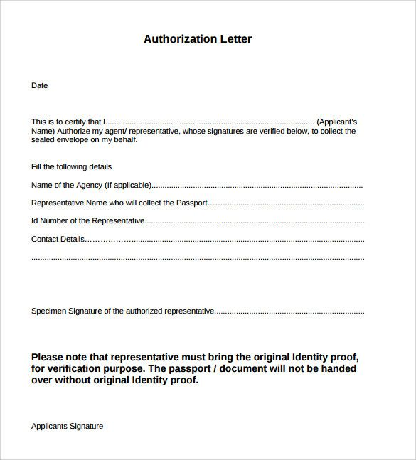 Sample Authorization Letters Word Letter Act Behalf  Home Design