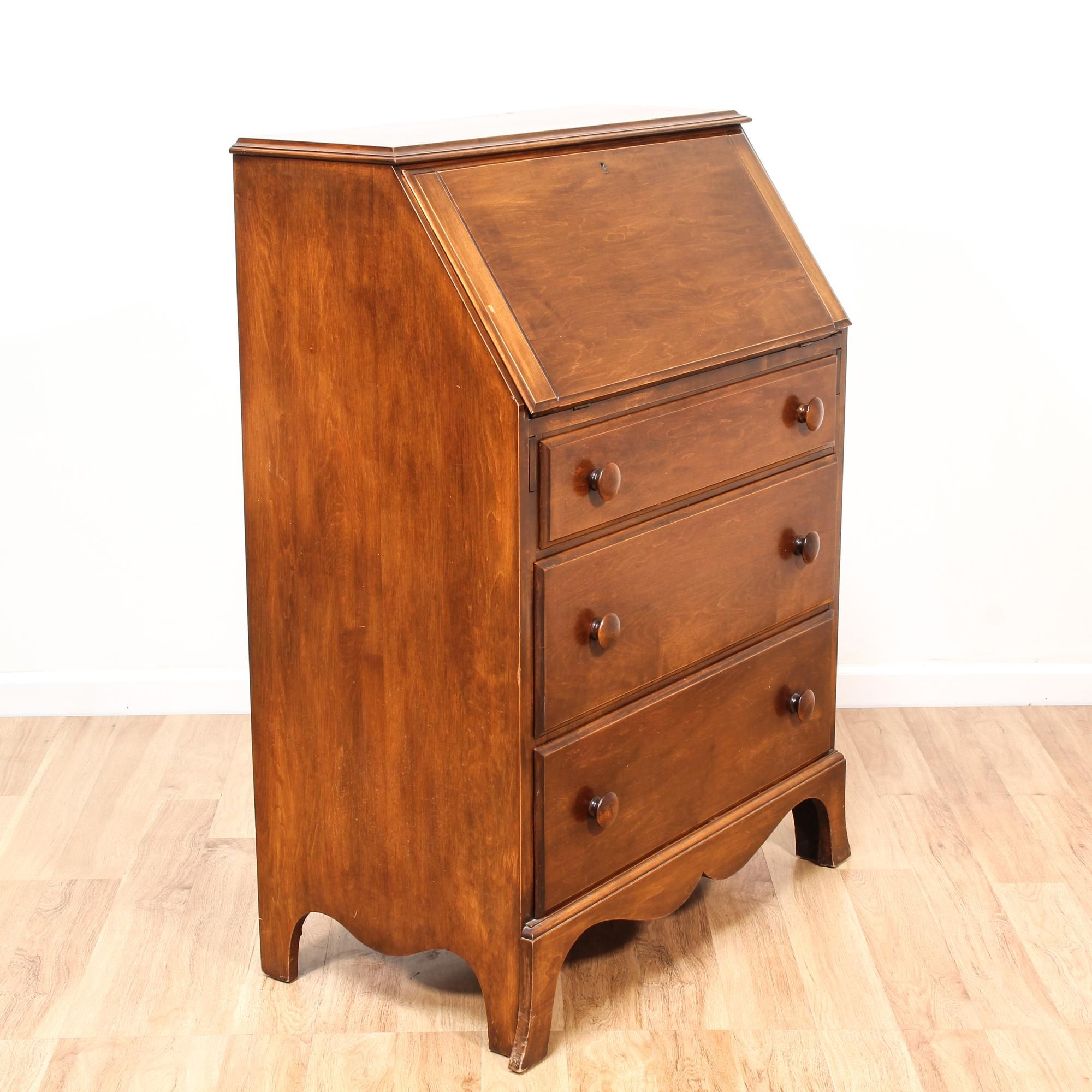 This Rustic Secretary Desk Is Featured In A Solid Wood With Raw Light Cherry Finish Dresser Good Condition 3 Large Drawers