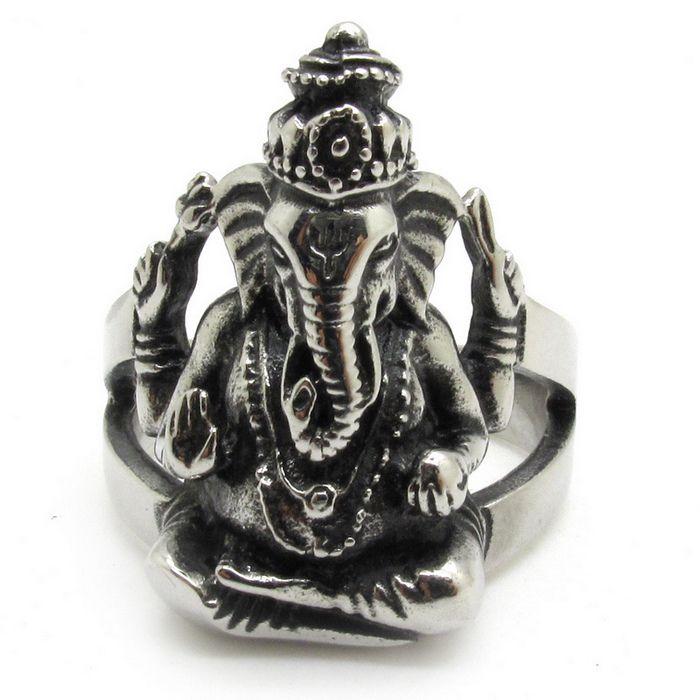 AeraVida Rare Ganesh Figure Hindu Elephant God .925 Sterling Silver Ring