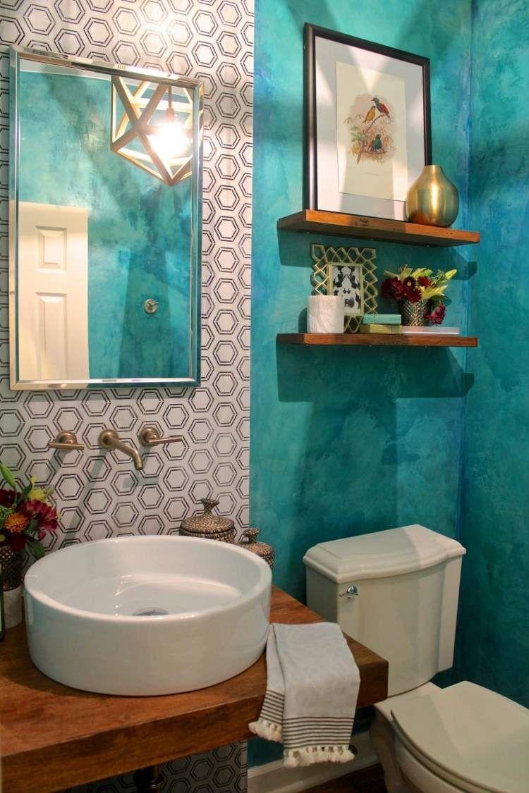 meuble salle bain idees deco peinture turquoise choisir nuance pour votre int rieur id es turquoise salons - Salle De Bain Turquoise Et Bois