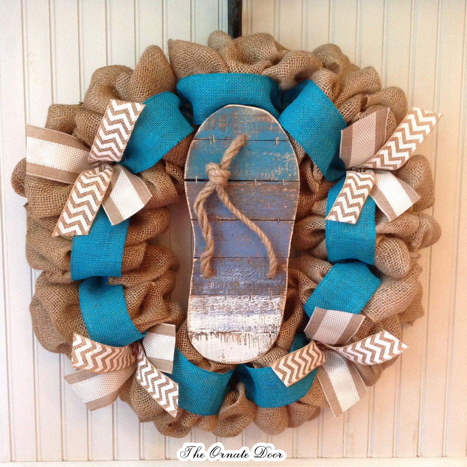 Flip Flop Wreath, Burlap Turquoise Wreath, Flip Flop Door Hanger,