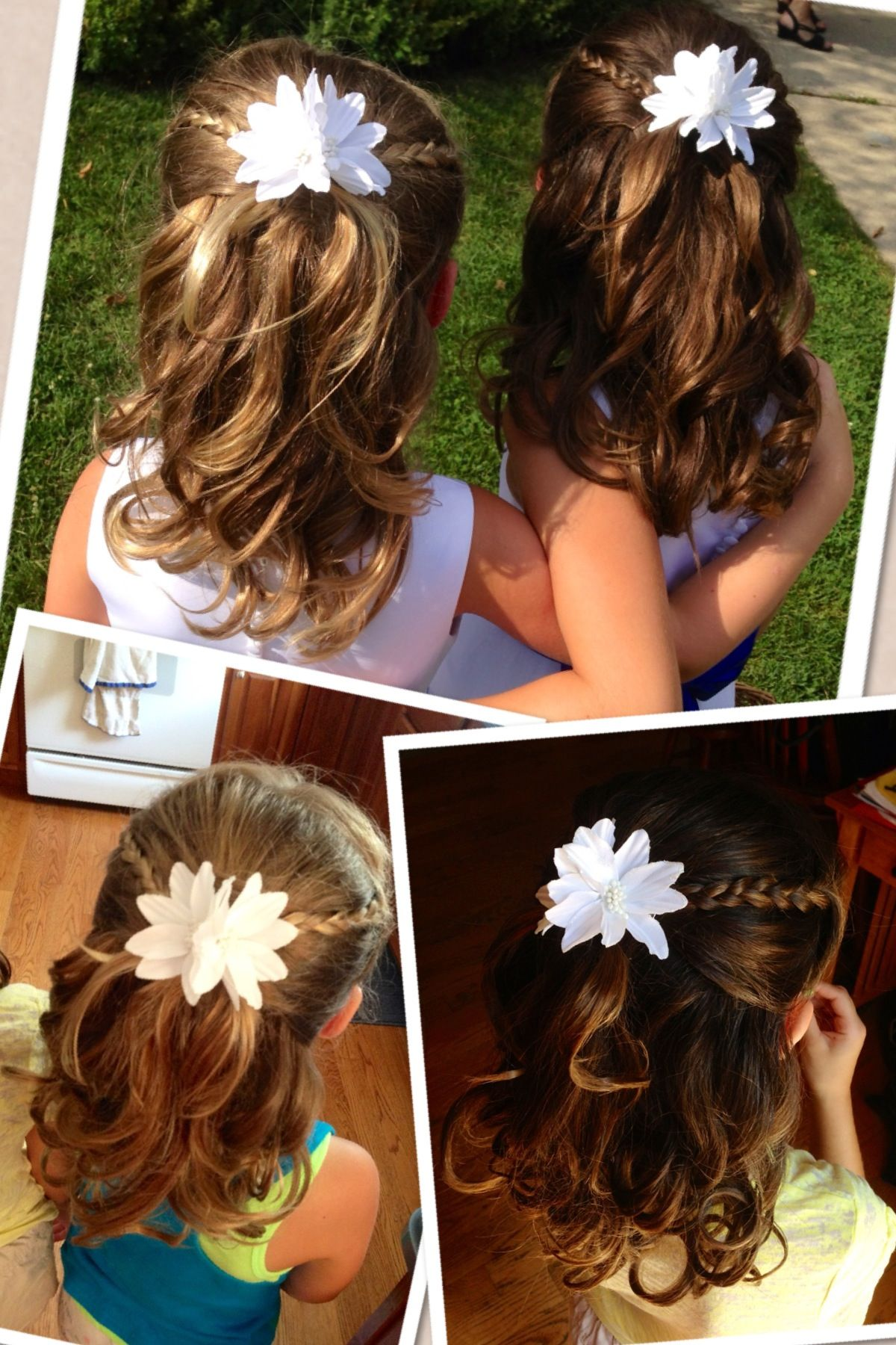Flower Girl Hairstyle Half Up With Braids And Curls Flower