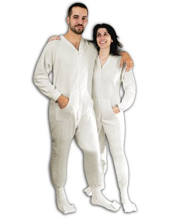 White Footed Pajamas for Adults - Fleece White Footie PJs ...