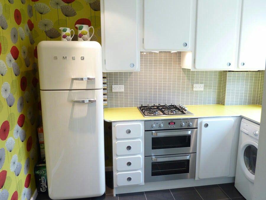 Smeg fridge and sanderson wallpaper | Kitchen mood board | Pinterest