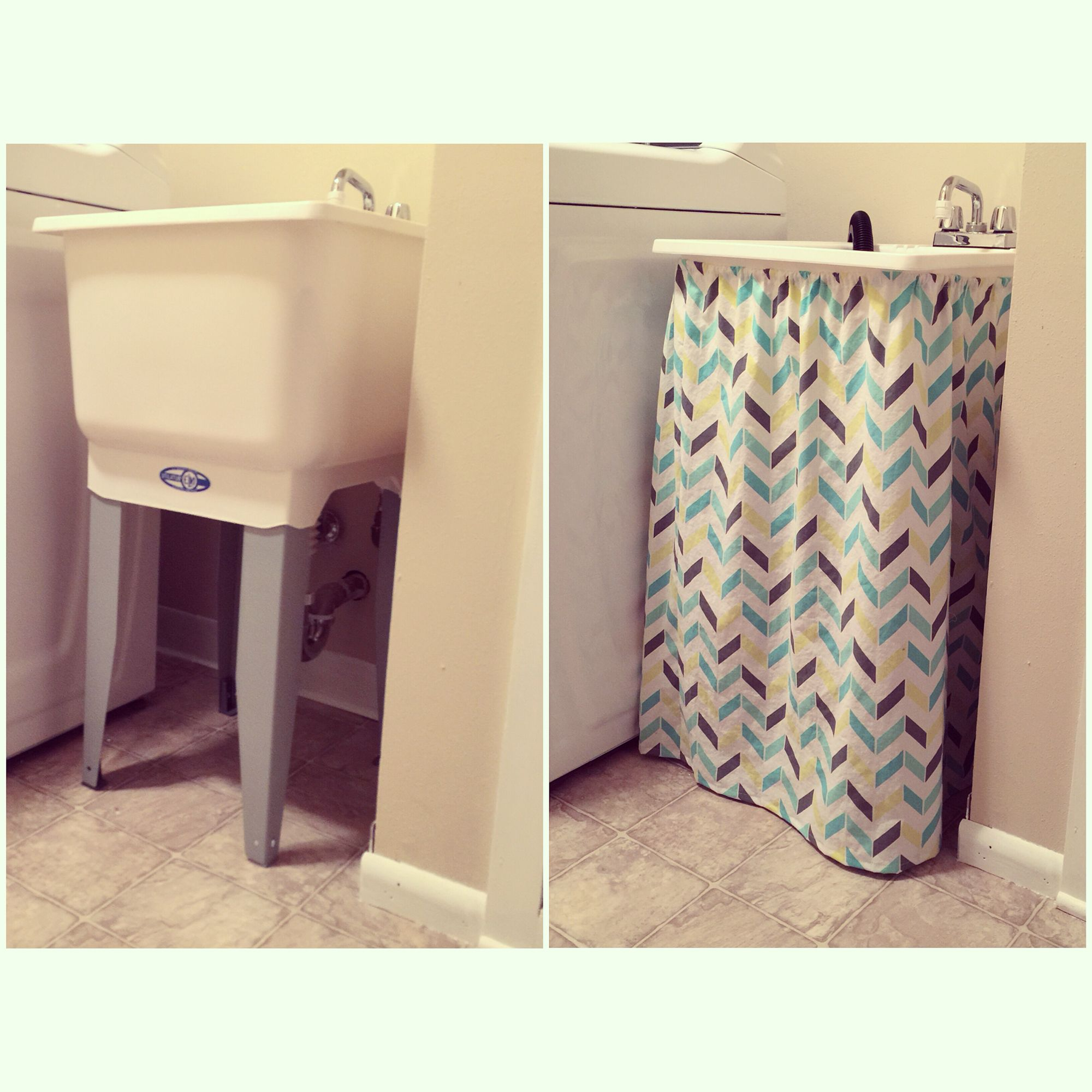 Diy Utility Stationary Tub Skirt Cover Laundry Room Decor You Just Need A Fabric Of Your Choice And Elastic Laundry Room Decor Tub Cover Laundry Tubs