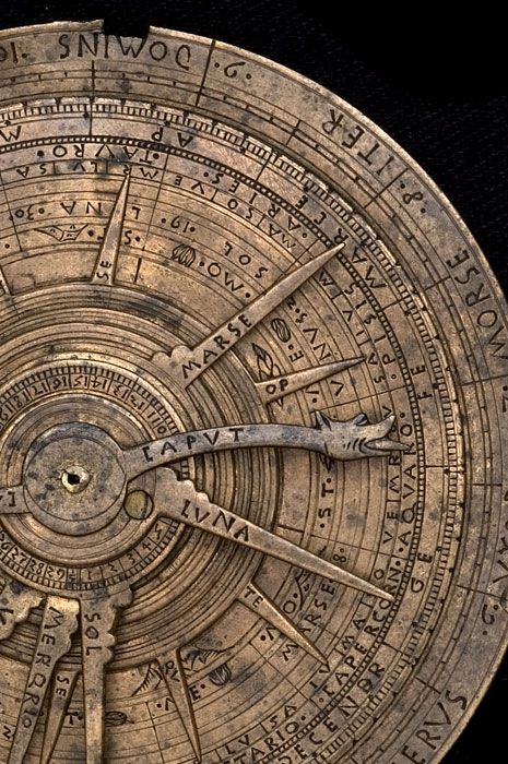 This instrument is clear evidence of the links between the astrolabe and astrology. On one side is an astrolabe for a single latitude, and on the other an astrological volvelle, used to find the positions of planets and other celestial bodies, especially in relation to the traditional astrological houses. #astrologyaesthetic