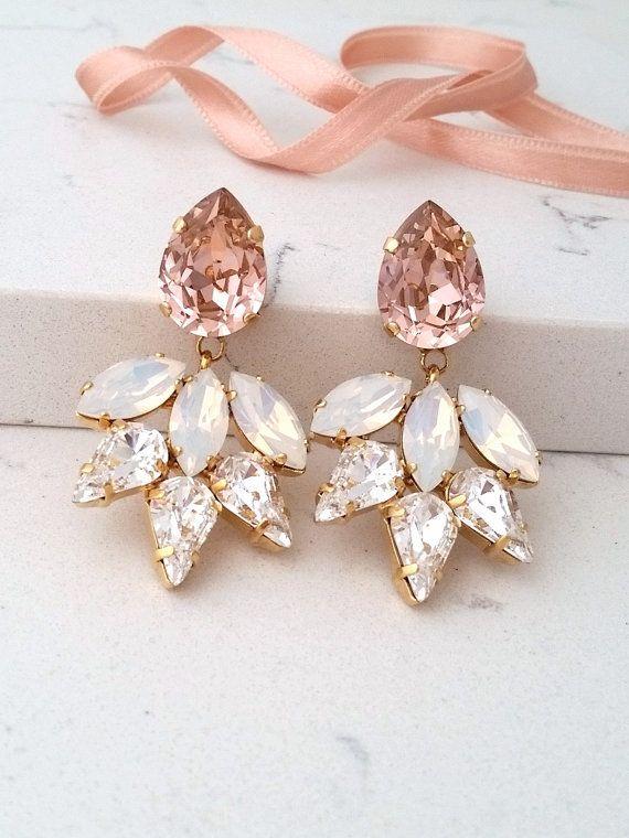 Photo of Bridal earrings,Blush earrings,Morganite earrings,White opal earrings,Chandelier earrings,Statement Swarovski earrings,Bridesmaids gift