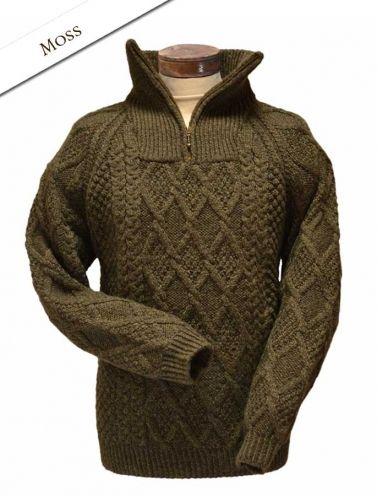 Mens Hand Knit Quarter Zip Sweater - White | aran | Pinterest ...