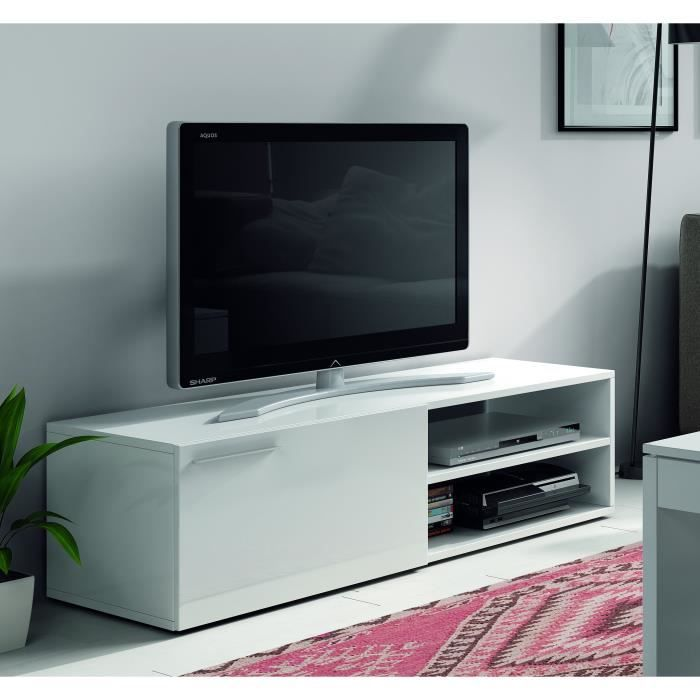 kikua meuble tv contemporain mlamin blanc brillant l 130 cm - Meuble Tv Blanc Brillant But