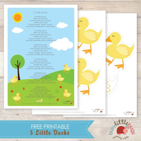 5 Little Ducks Free Printable Finger Puppets Little Duck