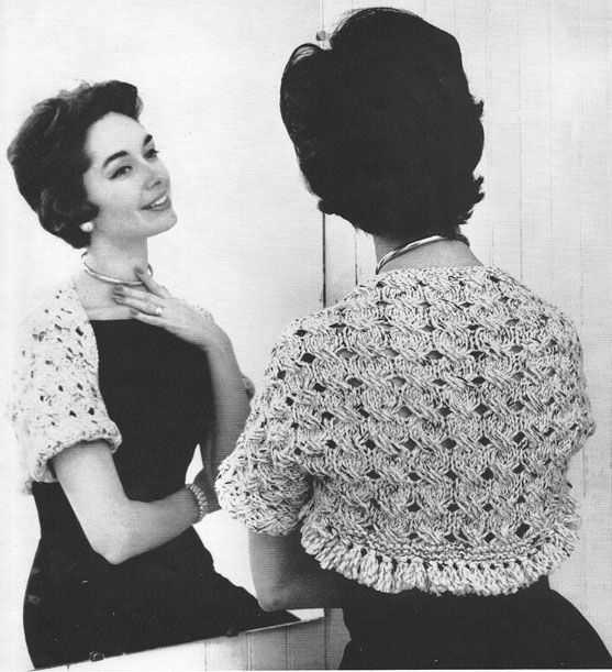 Knitted Shrug Sweater Bolero in Ribbing Vintage Knitting Pattern ...