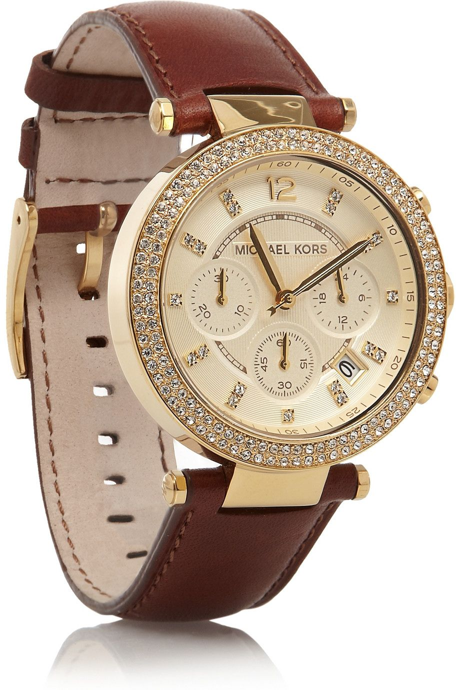 7d045a144 Michael Kors | Leather, stainless steel and crystal chronograph watch