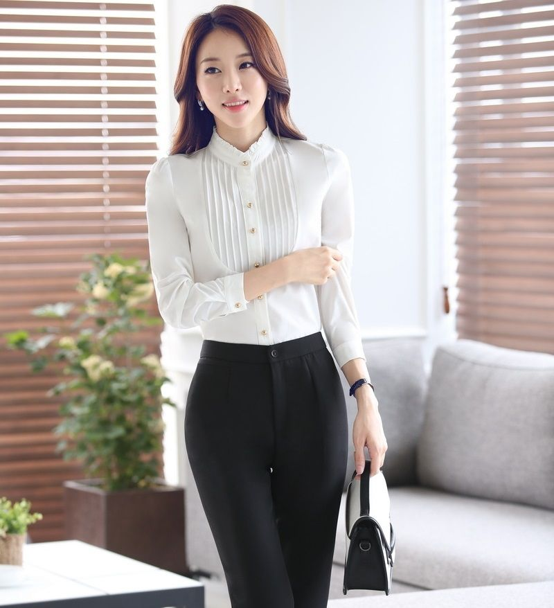 dfdf919f1a8 Formal OL Styles Female Pantsuits With Blouses And Pants Business Women  Work Wear Spring Autumn Office Ladies Trousers Sets