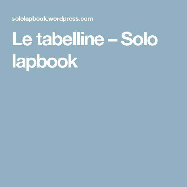 Le Tabelline Solo Lapbook Lapbook Pinterest
