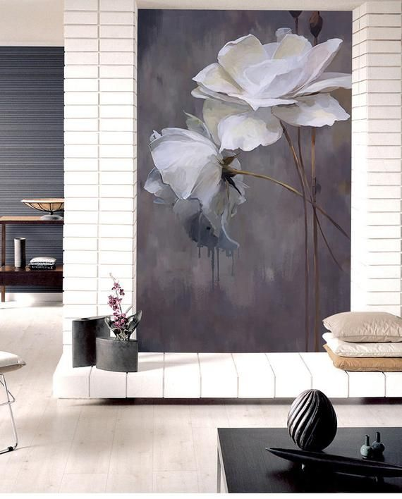 Simple Black and White Color Wallpaper Wall Mural, Lotus Floral Wall Mural, Bedroom/Living Room Wall Murals Wall Decor #happyfallyallwallpaper