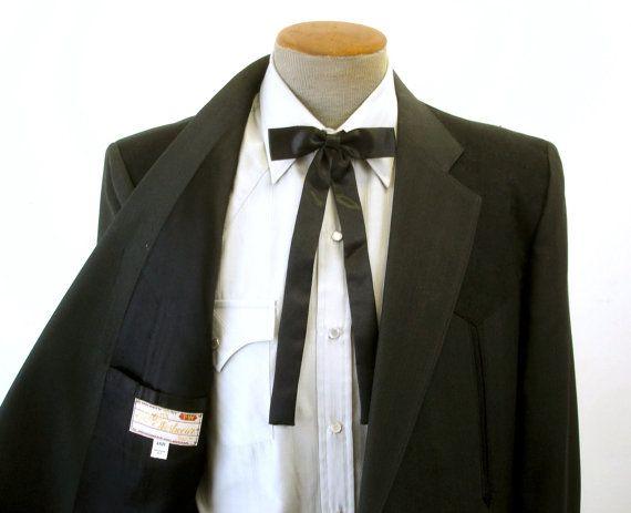 Vintage Black Satin Western Bow Tie Mid Century Cowboy Style Colonel Sanders  Bowtie Country Western Rockabilly Formal Necktie Wedding Groom