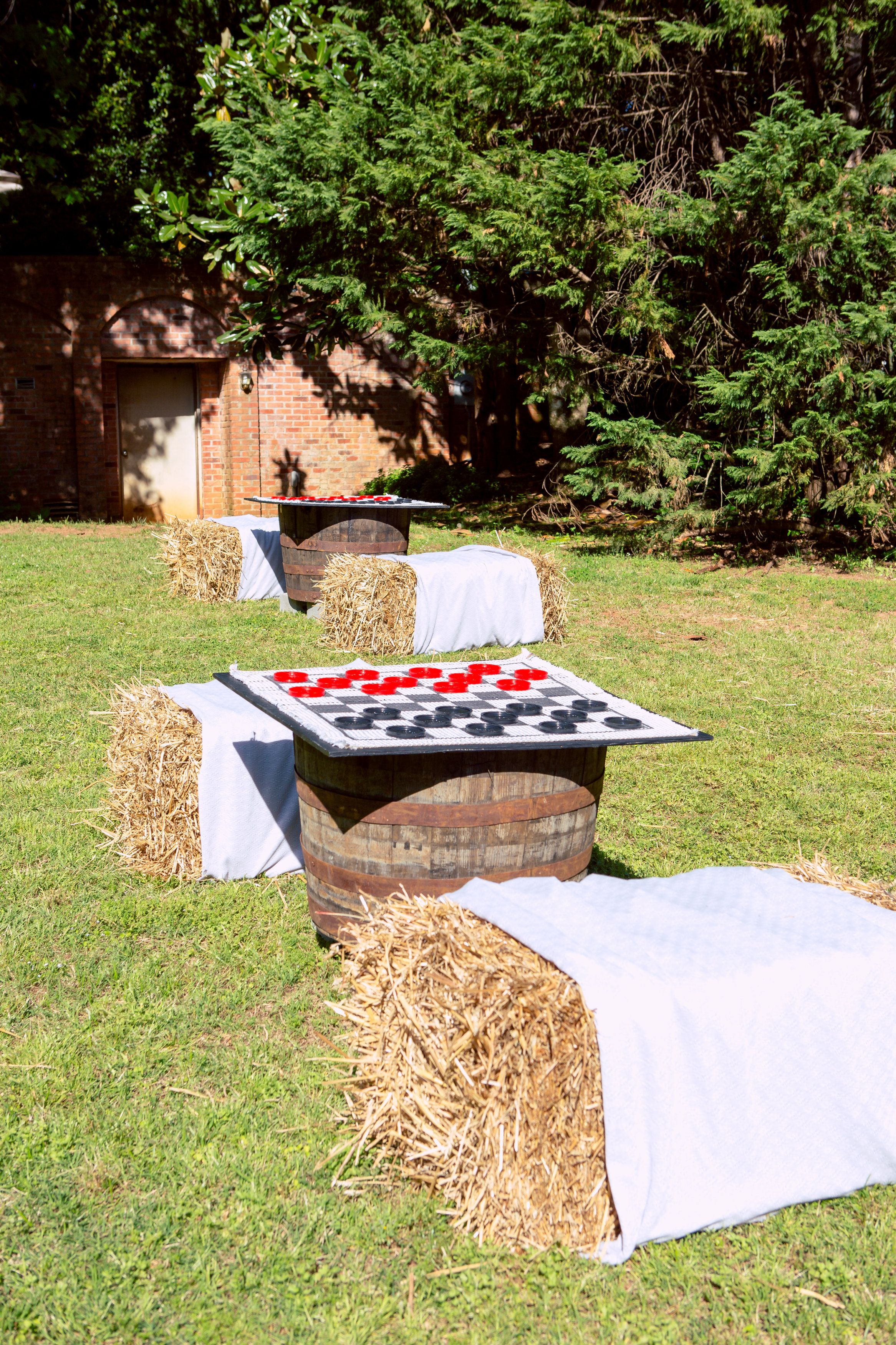 big games, checkers, chess, hay bales, hay stacks, southern wedding ...