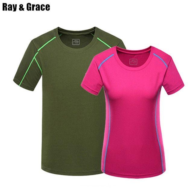 6a8fcdc4ea1b Ray Grace Summer Quick Dry Sport Shirt Men Anti Sweat Hiking Camping  Trekking Running Outdoor Sport