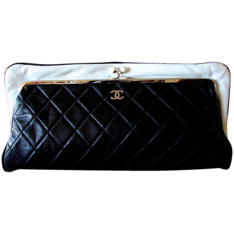 56b189fc201c52 Chanel Black Lambskin Matelassé Clutch White Trim Chain Coin Purse 2009 Box  | From a collection