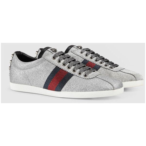 3b0adfe4667 Gucci Glitter Web Sneaker With Studs ( 685) ❤ liked on Polyvore featuring  shoes