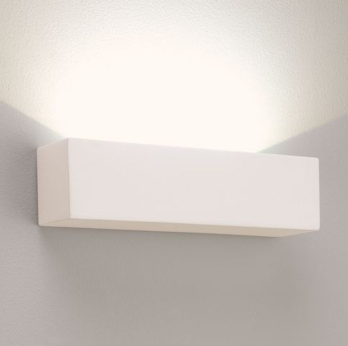 Block LED Wall Mounted Uplight In Smooth Natural Plaster ...