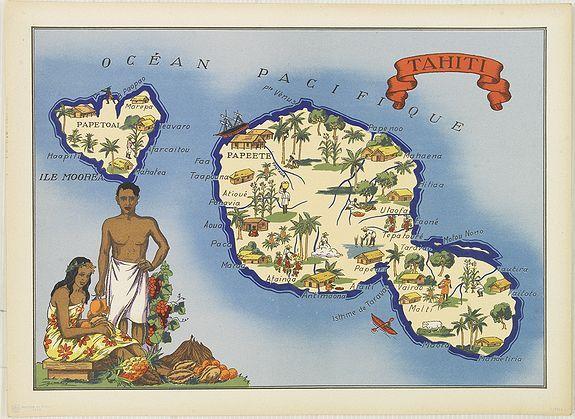Map Of Tahiti And Moorea Pictorial Maps Map Tahiti