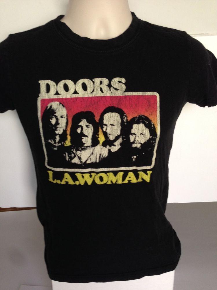 16570916 Vintage THE DOORS L.A. Woman's T-shirt Black Official Medium M Music Group # Doors