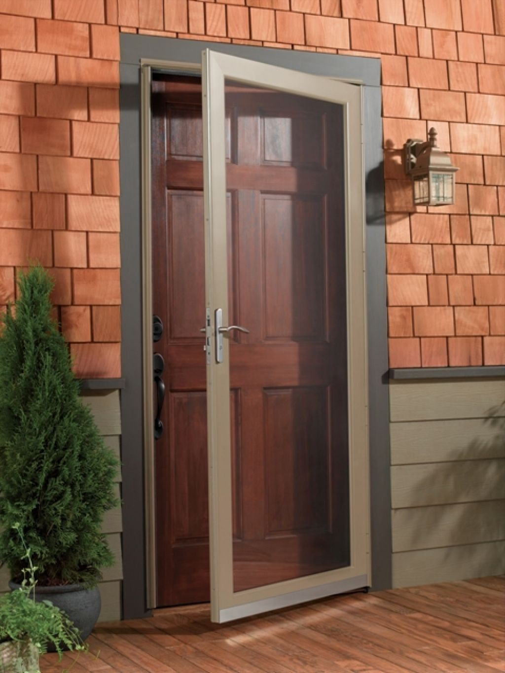 Common Vintage Design For Storm Door With Clear Screen And Using ...