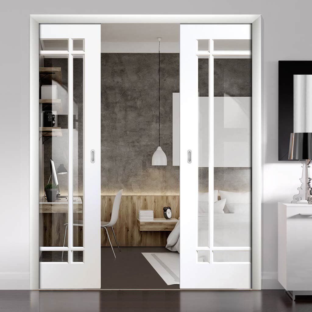 Cheshire White Double Evokit Pocket Doors Clear Glass Primed 1000 In 2020 Double Doors Interior Glass Pocket Doors Sliding Doors Interior